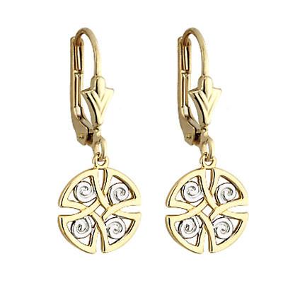 Celtic Earrings - 14k Gold Two Tone Celtic Earrings