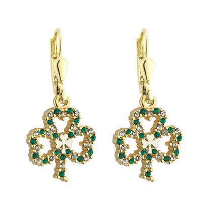 St. Patricks Day - Irish Jewelry Gold Plated Shamrock Earrings with Sparkling Crystal