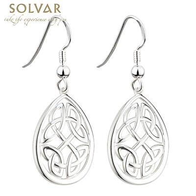 Celtic Earrings - Sterling Silver Large Celtic Knot Oval Earrings