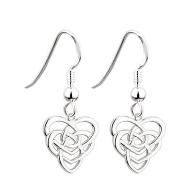 Sterling Silver Celtic Knot Heart Earrings