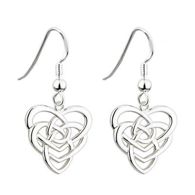 Celtic Earrings - Sterling Silver Celtic Knot Heart Earrings