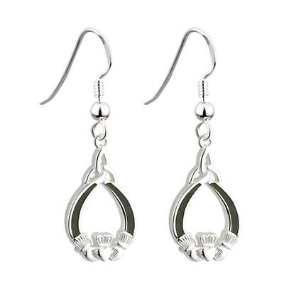 Sterling Silver Connemara Marble Claddagh Earrings
