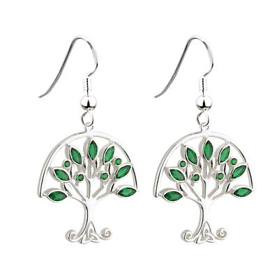 Sterling Silver Tree of Life with Green Crystals Earrings