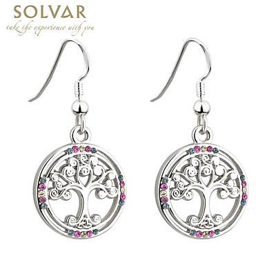 Celtic Earrings - Irish Colored Crystals Rhodium Tree of Life Earrings