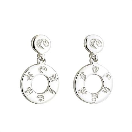 Irish Earrings - Sterling Silver History of Ireland Circle Earrings