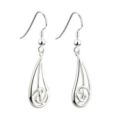 Celtic Earrings - Sterling Silver Long Celtic Tear Drop Earrings