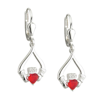 Sterling Silver Red Crystal Claddagh Earrings