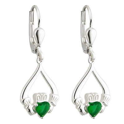 Sterling Silver Green Crystal Claddagh Earrings