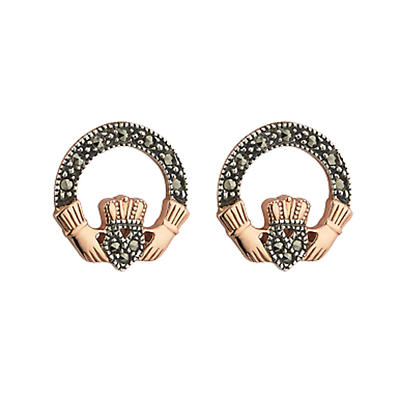 18k Rose Gold on Silver Marcasite Claddagh Earrings