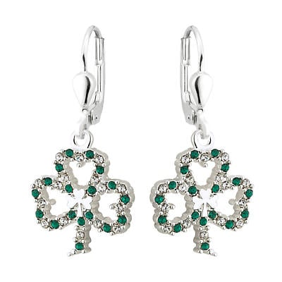 St. Patricks Day - Irish Jewelry Silver Plated Shamrock Earrings with Sparkling Crystal