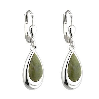 Irish Earrings - Connemara Marble Teardrop Earrings Sterling Silver