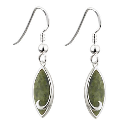 Celtic Earrings - Celtic Earrings - Connemara Marble Oval Irish Earrings Sterling Silver