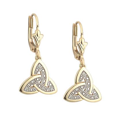 Trinity Knot Earrings - 14k Gold and Diamonds Trinity Knot Earrings