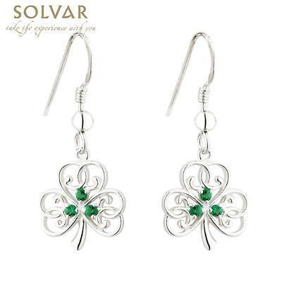 Irish Earrings - Sterling Silver Crystal Shamrock Earrings
