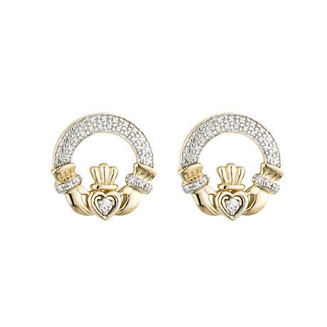 Claddagh Earrings - 14k Gold with Diamonds Claddagh Stud Earrings