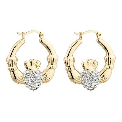 Irish Earrings - Gold Plate Crystal Creole Claddagh Earrings