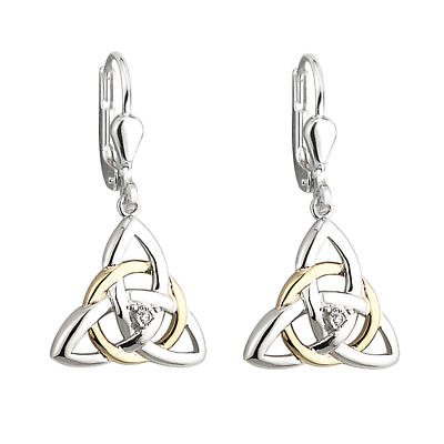 Irish Earrings - 10k Gold and Sterling Silver Diamond Celtic Trinity Knot Earrings
