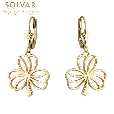 Irish Earrings - 14k Yellow Gold Shamrock Earrings