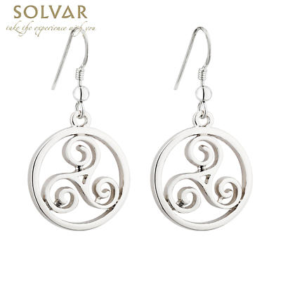 Celtic Earrings - Rhodium Plated Celtic Spiral Drop Earrings