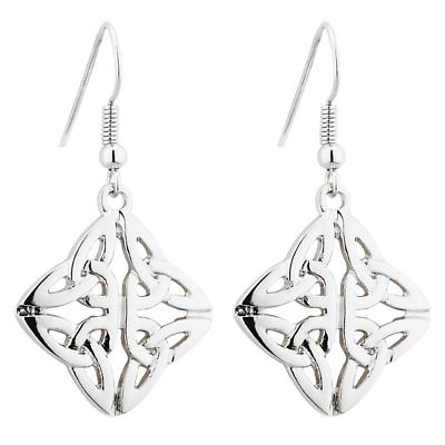 Celtic Earrings - Rhodium Plated Celtic Trinity Knot Drop Earrings