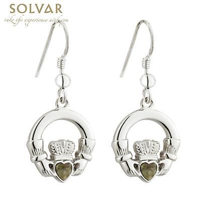 Claddagh Earrings - Rhodium Plated Connemara Marble Claddagh Drop Earrings
