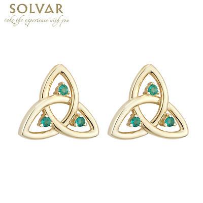 Celtic Earrings - 10k Gold Emerald Trinity Stud Earrings