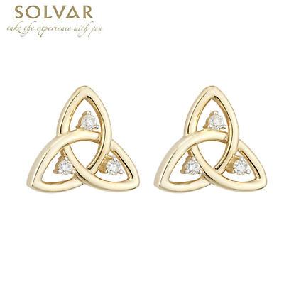 Celtic Earrings - 10k Gold CZ Trinity Stud Earrings