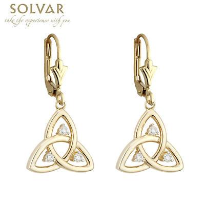 Celtic Earrings - 10k Gold CZ Trinity Drop Earrings
