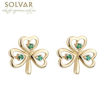 Shamrock Earrings - 10k Gold Emerald Shamrock Stud Earrings