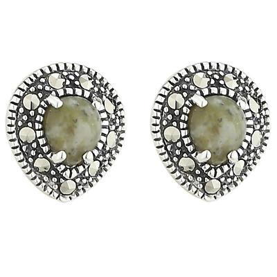 Irish Earrings - Sterling Silver Marcasite & Connemara Marble Small Stud Earrings
