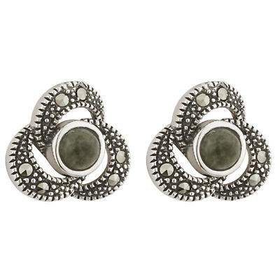 Celtic Earrings - Sterling Silver Marcasite & Connemara Marble Celtic Stud Earrings