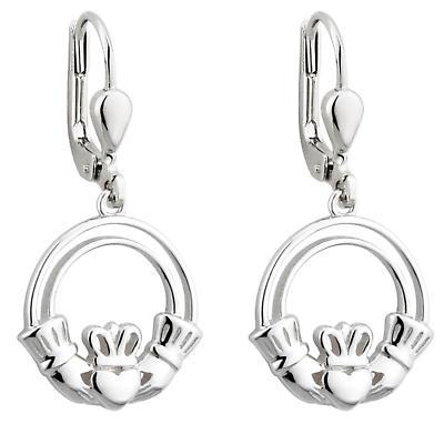 Claddagh Earrings - Sterling Silver Open Claddagh Drop Earrings