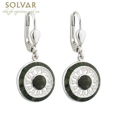 Celtic Earrings - Sterling Silver Connemara Marble Round Trinity Earrings