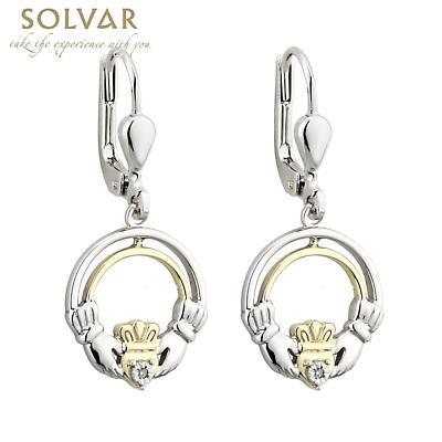 Claddagh Earrings - Silver, 10k Gold & Diamond Claddagh Earrings