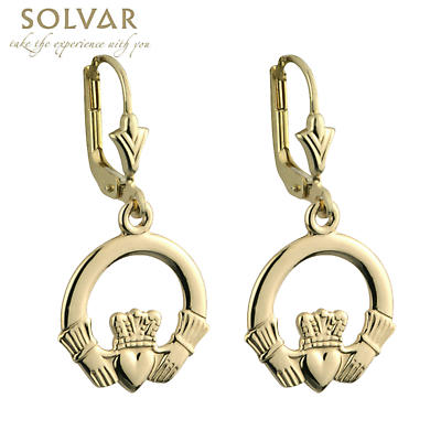 14k Yellow Gold Claddagh Drop Earrings