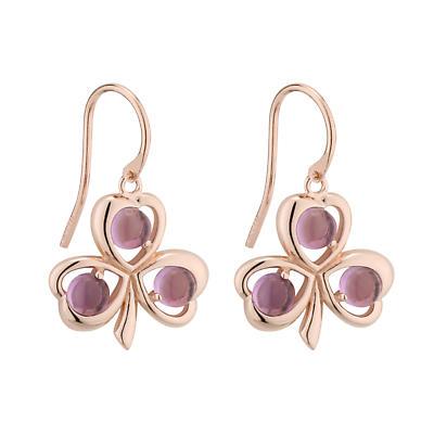 Irish Earrings - Rose Gold on Sterling Silver Shamrock Earrings with Amethyst