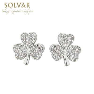 Irish Earrings - Rhodium Plated Crystal Stud Irish Shamrock Earrings