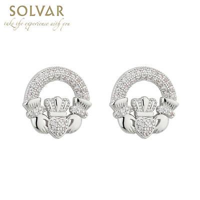 Irish Earrings Rhodium Plated Crystal Stud Claddagh