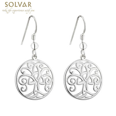 Celtic Earrings - Tree of Life Circle Sterling Silver Trinity Knot Earrings