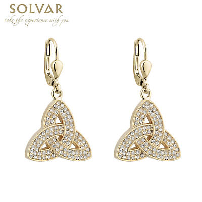 Irish Earrings - 18k Gold Plated Trinity Knot Earrings with Crystals