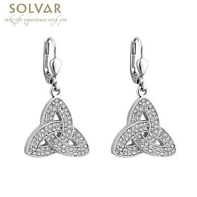 Irish Earrings - Rhodium Plated Crystal Trinity Knot Earrings