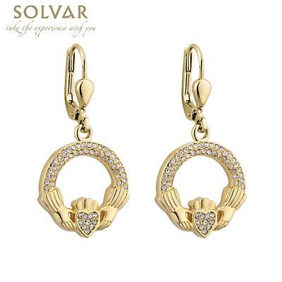 Irish Earrings - Gold Plated Crystal Claddagh Earrings
