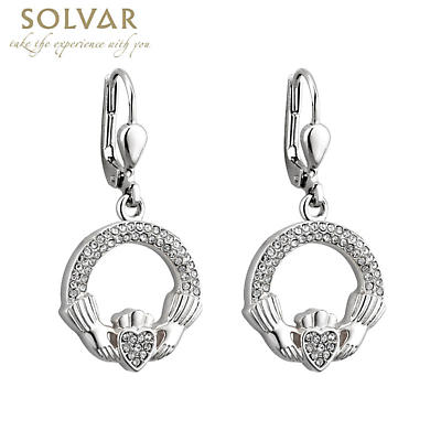 Irish Earrings - Rhodium Plated Crystal Claddagh Earrings
