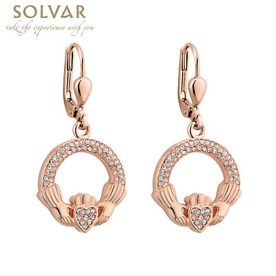 Irish Earrings - Rose Gold Plated Crystal Claddagh Earrings