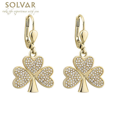 Irish Earrings - Gold Plated Crystal Shamrock Earrings