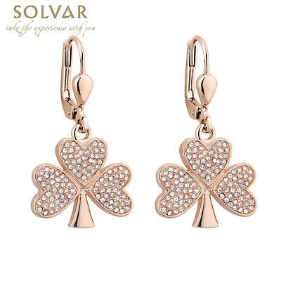 Irish Earrings - Rose Gold Plated Crystal Shamrock Earrings