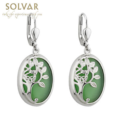 Irish Earrings - Rhodium Plated Celtic Tree of Life Green Earrings
