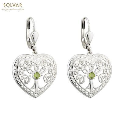 Irish Earrings - Sterling Silver Crystal Heart Tree of Life Earrings