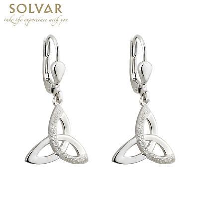 Irish Earrings - Sterling Silver Trinity Knot Drop Earrings