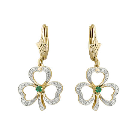 Shamrock Earrings - 14k Gold with Diamonds and Emerald Shamrock Drop Earrings